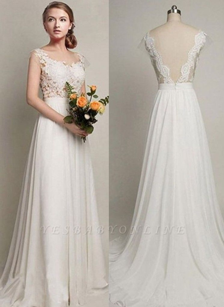 Straps A-line Simple Lace Backless Sweep Train Wedding Dress