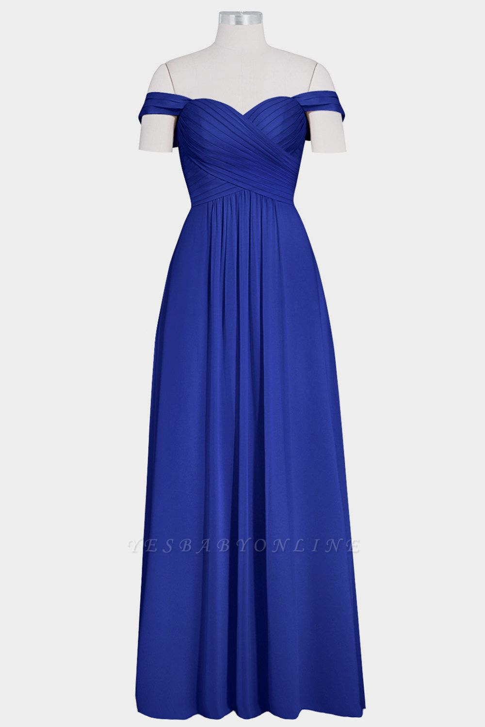 A Line Chiffon Off-the-Shoulder Sweetheart Floor Length Bridesmaid Dresses
