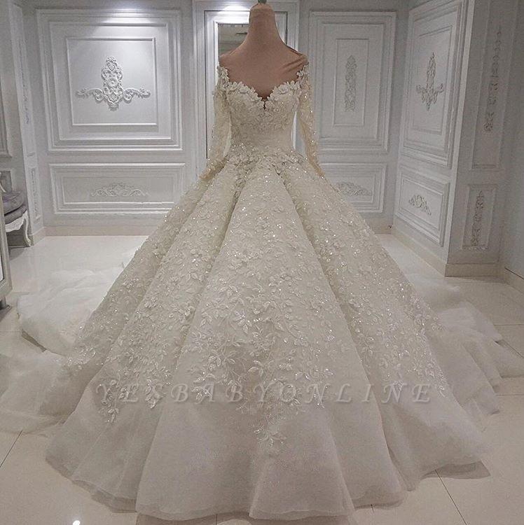 Jewel Long Sleeve Applique Beaded Ruffles Ball Gown Wedding Dresses