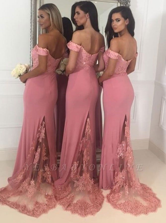 Elegant Off-The-Shoulder Maid Of The Honor Dresses | Backless Lace Applique Mermaid Bridesmaid Dresses