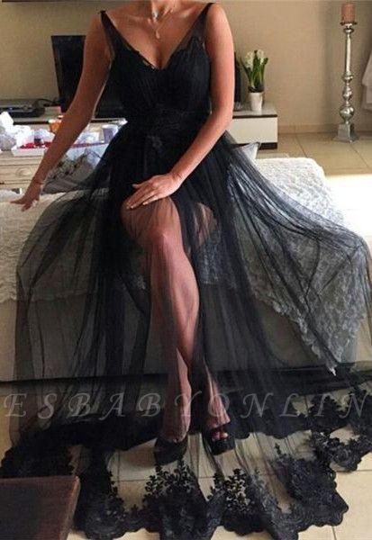 V-Neck Long Lace Sexy Black Prom Dresses | Sparkly Evening Dresses