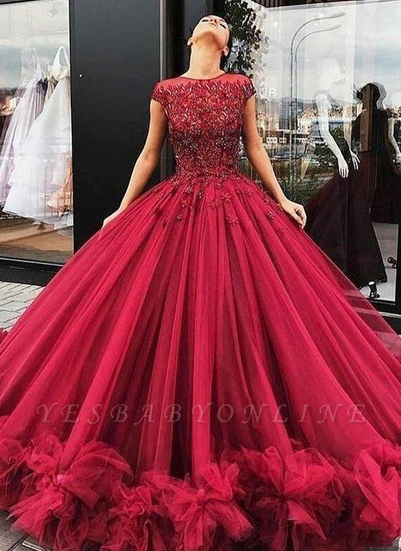 Ball-Gown Scoop Short-Sleeves Burgundy Luxury Prom Dresses