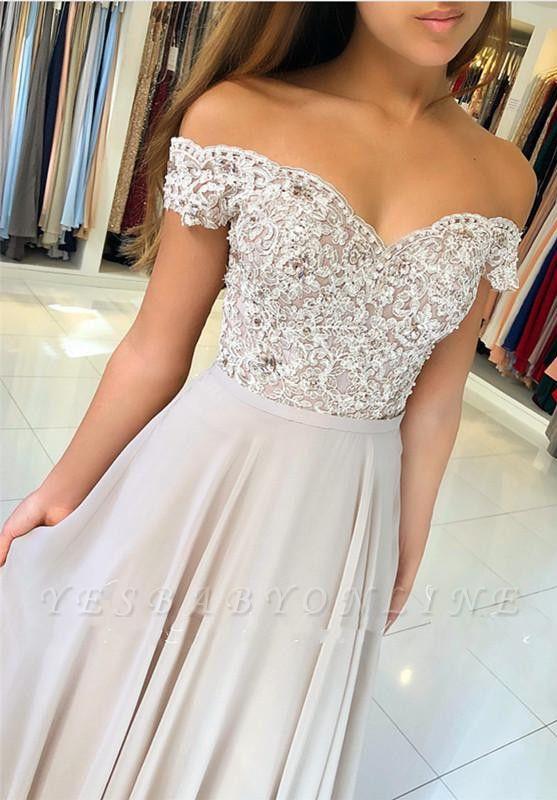 Off-the-Shoulder  Long Elegant Lace-Appliques Prom Dress