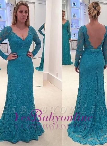 Open-Back Long-Sleeves V-Neck Lace Mermaid Prom Dresses