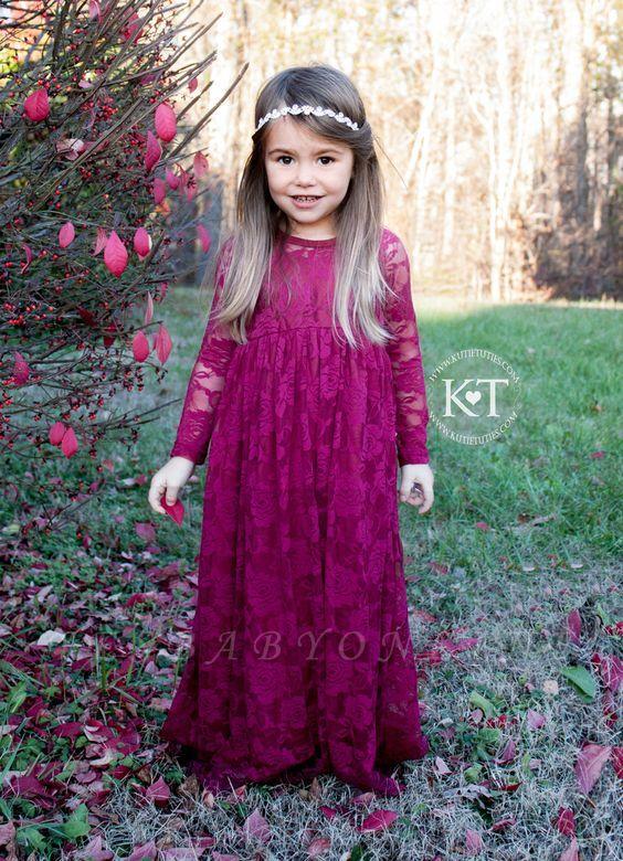 Long Cute Flower Sleeves Lace Fuchsia Girl Dresses