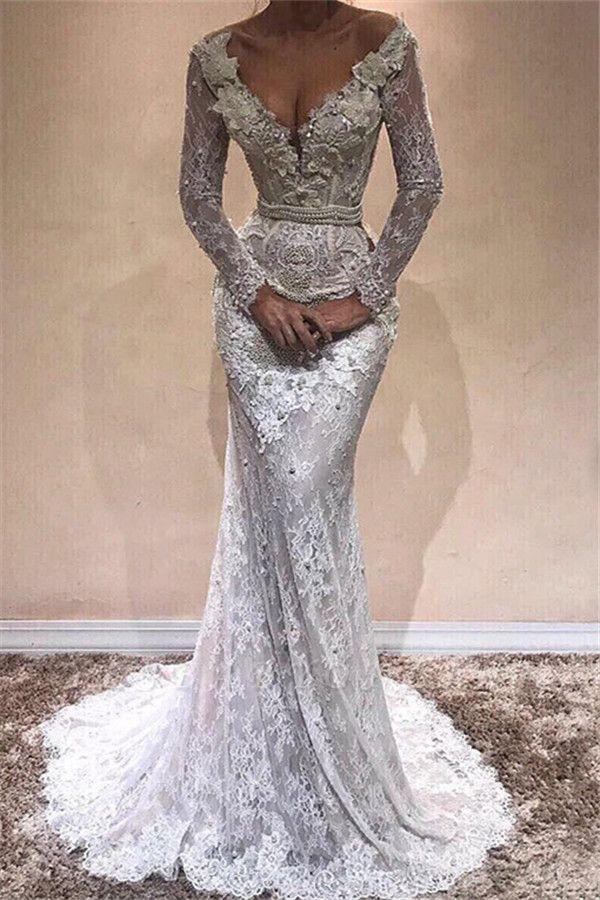 Glamorous  Long Sleeves Sexy Mermaid Wedding DressesBA9809
