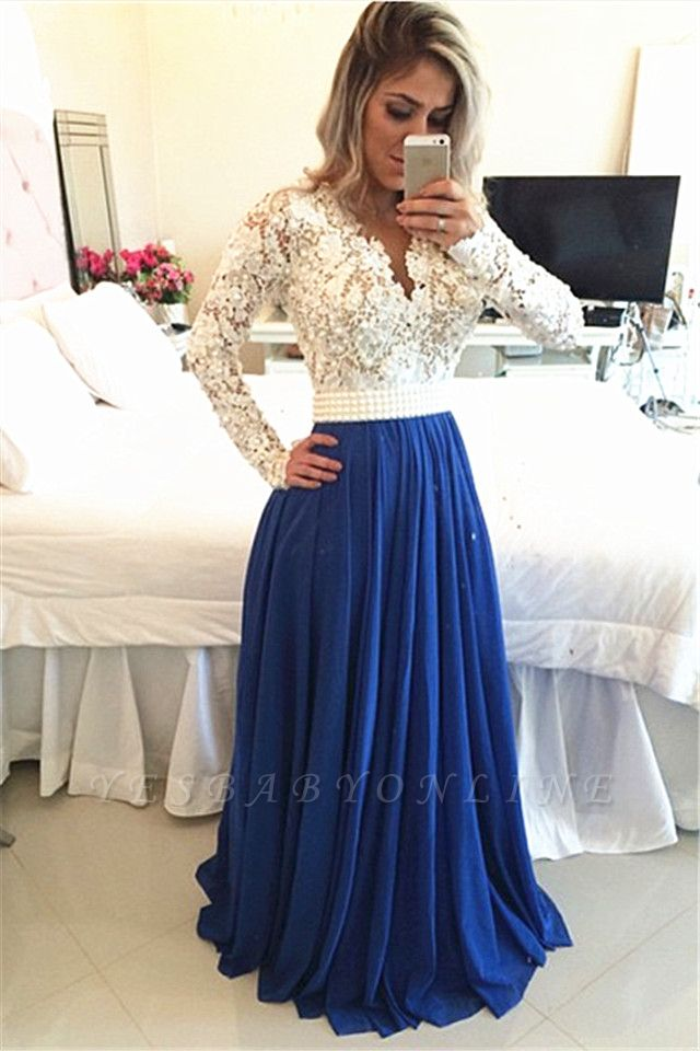 White and Blue Prom Dresses Long Sleeves Pearls  A-line Evening Gowns