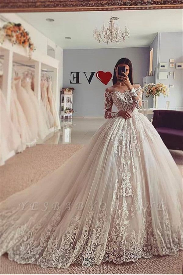 Unique Jewel Long Sleeve Ball Gown Lace Wedding Dress