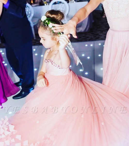 Lovely Spaghetti Straps Flower Girl Dresses | Flowers Tulle Long Pageant Dresses For Kids