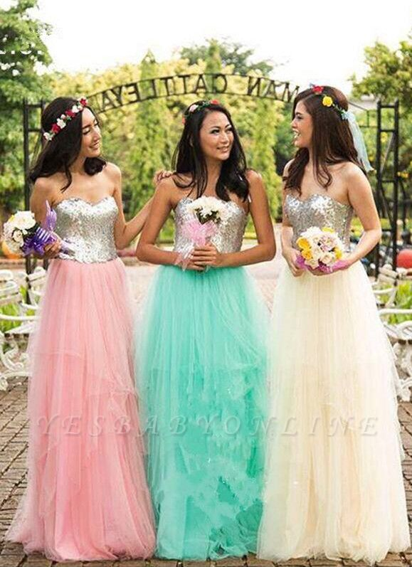 Sweetheart Sequined A-Line Tulle Simple Cheap Bridesmaid Dresses