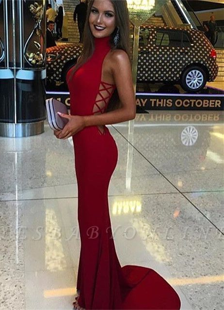 Red Mermaid Prom Dresses High Neck Cutaway Sides Evening Gowns