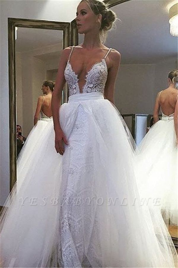 Spaghetti Straps Sheath Lace Wedding Dresses | Bakcless Bridal Gowns with Detachable Tulle Skirt