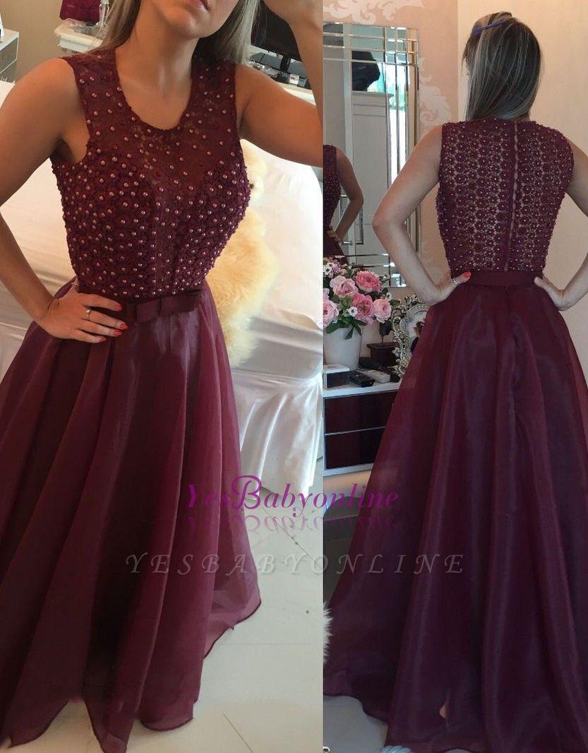 O-neck Pearls Sheath Modern Organza Burgundy Evening Dresses