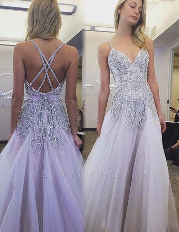 Glamorous Beaded Spaghetti Strap Sweep Train Wedding Dress