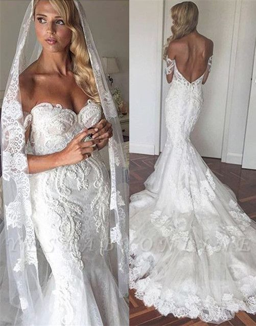Off-the-Shoulder Lace Tiers Backless Mermaid Wedding Dresses