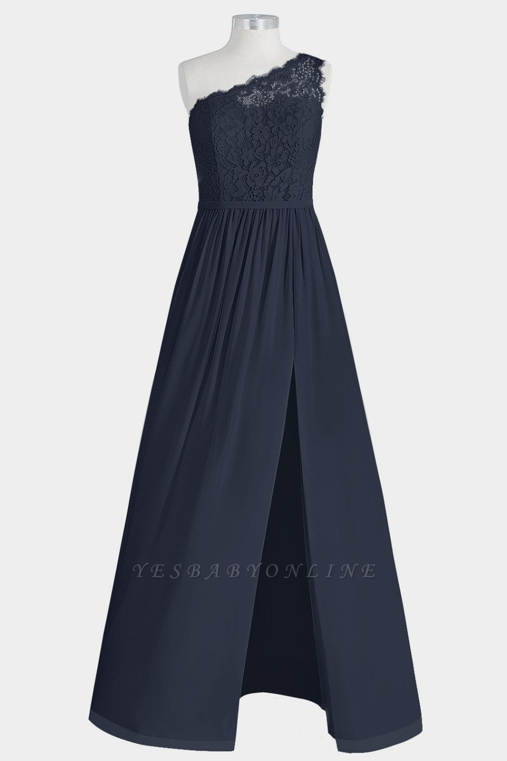 A Line Chiffon Lace One Shoulder Floor Length Bridesmaid Dresses with Slit