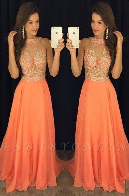 Gorgeous Beads A-line Sweep-Train Sleeveless Prom Dress