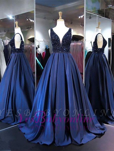 V-Neck Beadings Navy Sleeveless A-line Elegant Evening Dress