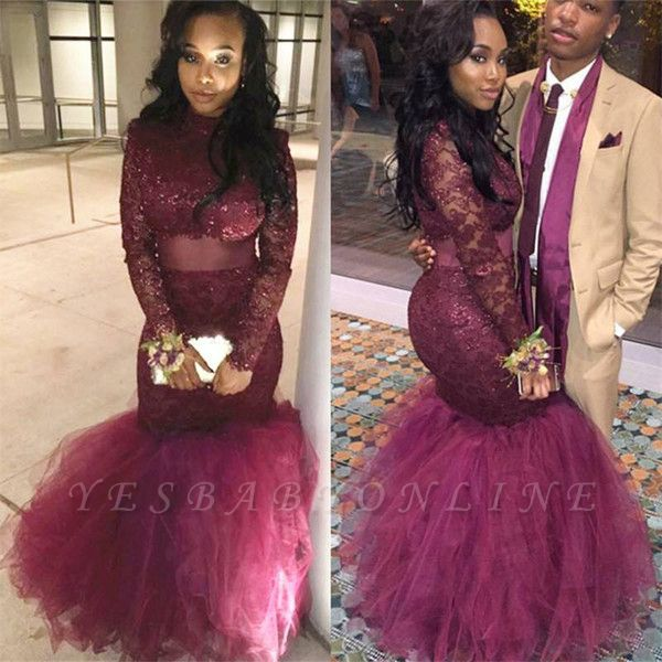 Shiny Mermaid Prom Dresses Long Sleeves Sheer Lace Tulle Evening Gowns