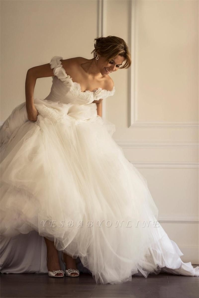 Tulle Sweep Train Ruffles A-line Modern Off-the-shoulder Flowers Wedding Dress