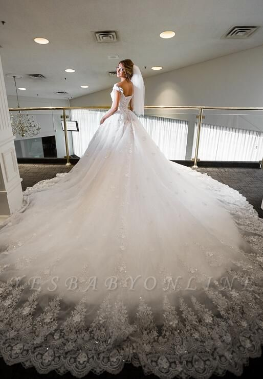 Glamorouse A Line Lace Wedding Dress | Off-the-Shoulder Chapel Train Bridal Dress with Appliques
