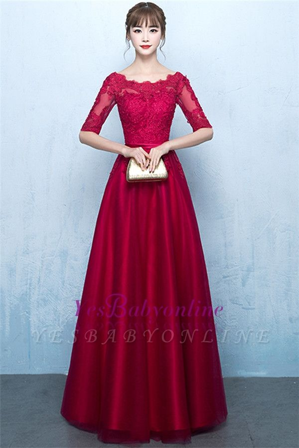 A-Line Lace-Up Glamorous Half-Sleeves Floor-Length Lace Evening Dresses