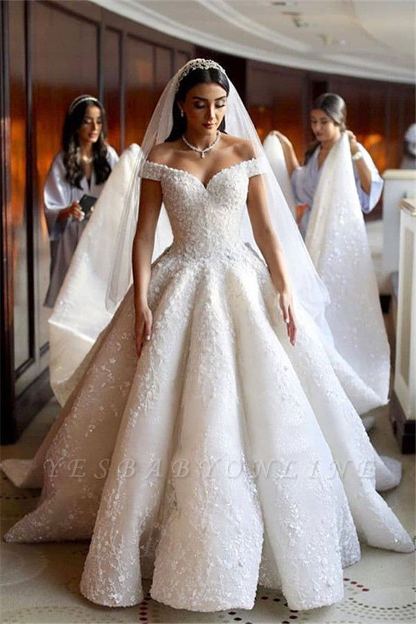 Sweetheart Off The Shoulder Ruffles Lace Ball Gown Wedding Dresses