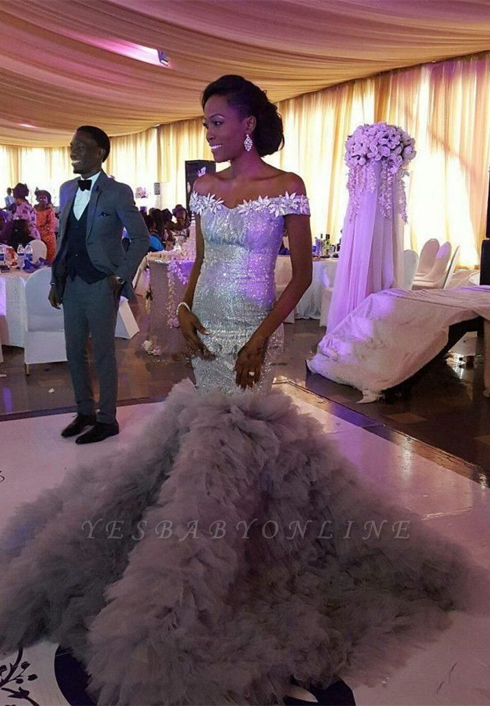 Sexy Mermaid Sequined Wedding Dress   Fashion Ruffles Off-the-shoulder Wedding Dress