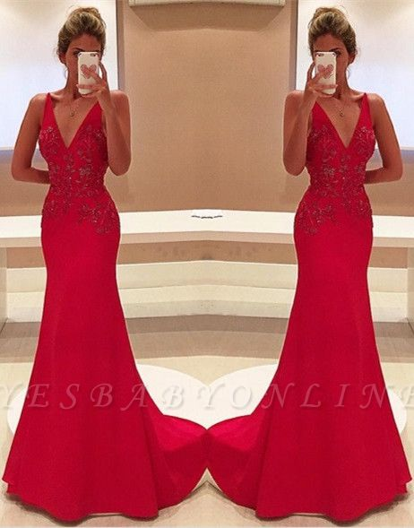 Two-Straps V-Neckline Sleeveless Appliques Long Red Prom Dress