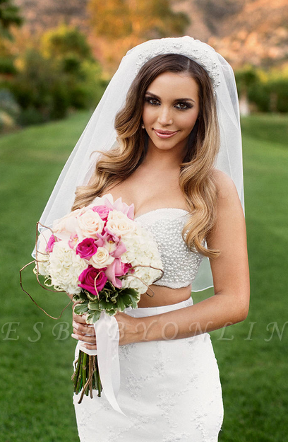 Sexy Two-Piece Sweetheart Beading Mermaid Lace Wedding Dresses