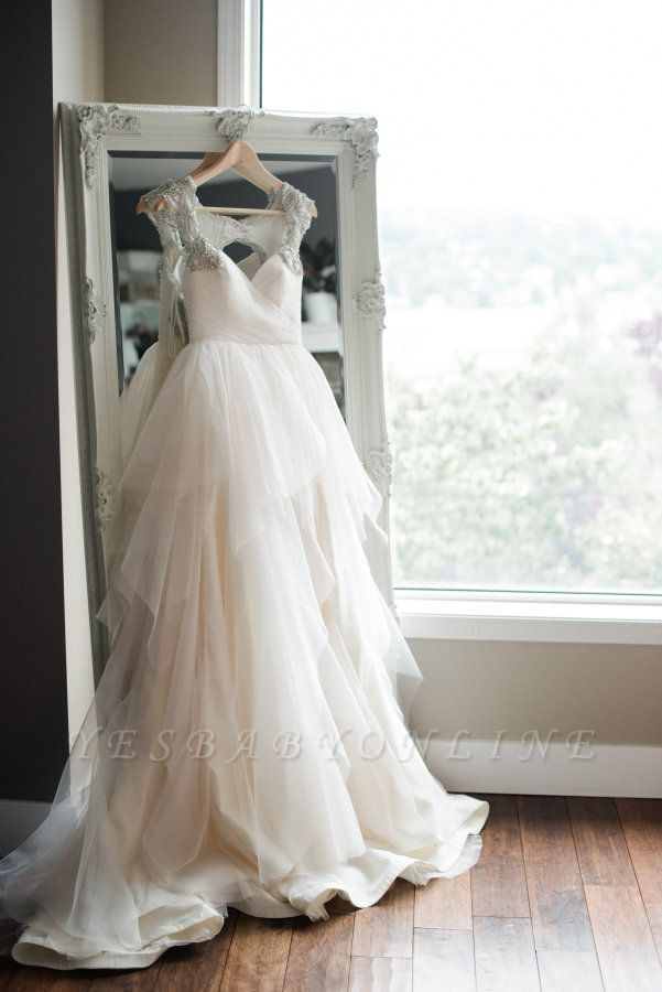 Cap-Sleeve  Straps Mesh Modern Beaded Wedding Dress