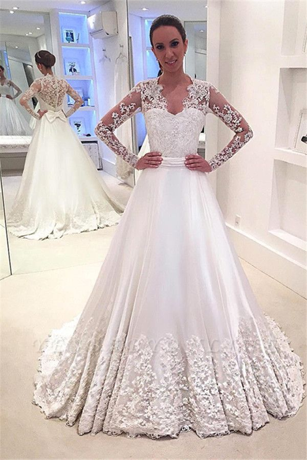 A-line  Long Sleeves See Through Lace Wedding Dresses with Bowknot