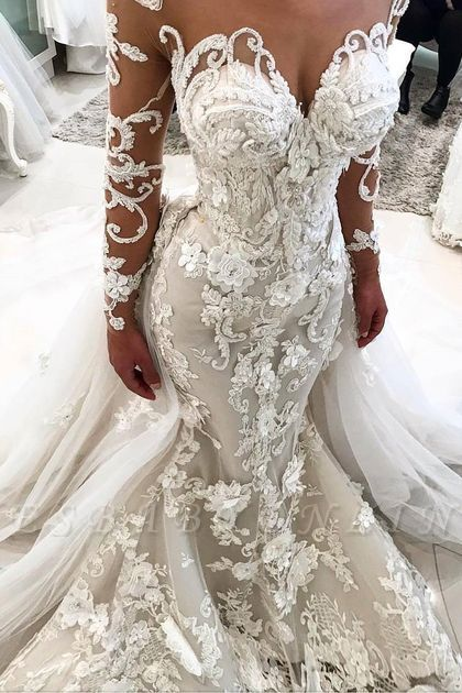 Delicate Sexy Mermaid  Lace Appliques Wedding Dress | Long Sleeve Bridal Dress BA9786