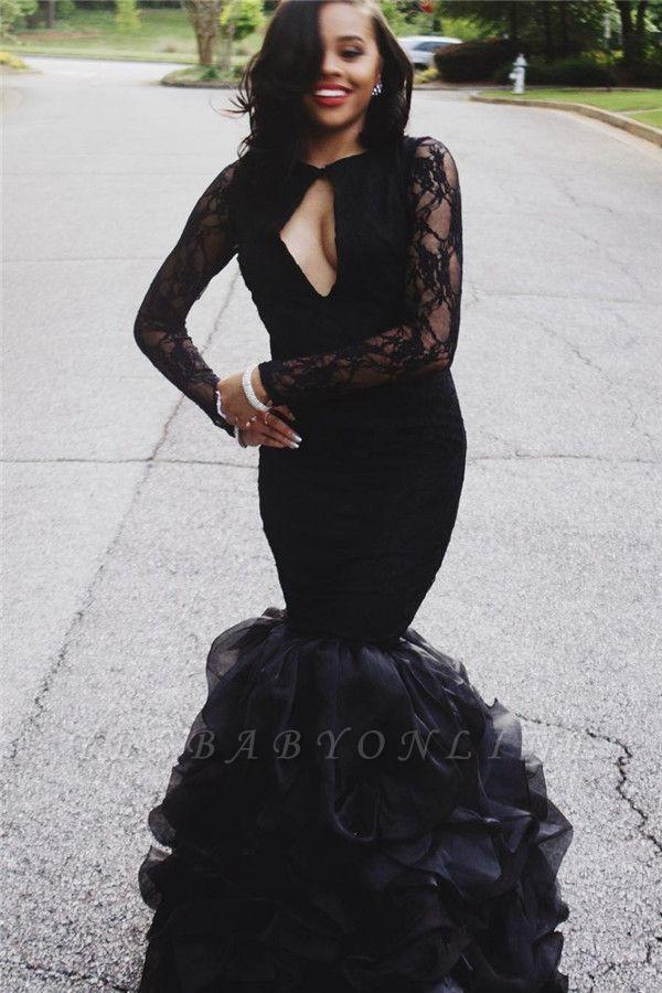 Keyhole-Neck Long-Sleeves Black Ruffles-Skirt Lace Sexy Mermaid Prom Dresses