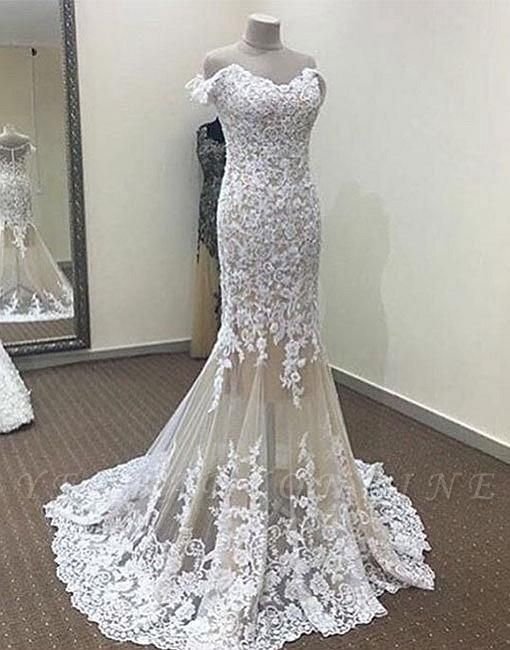 Mermaid White Off-the-shoulder Long Lace Evening Dress