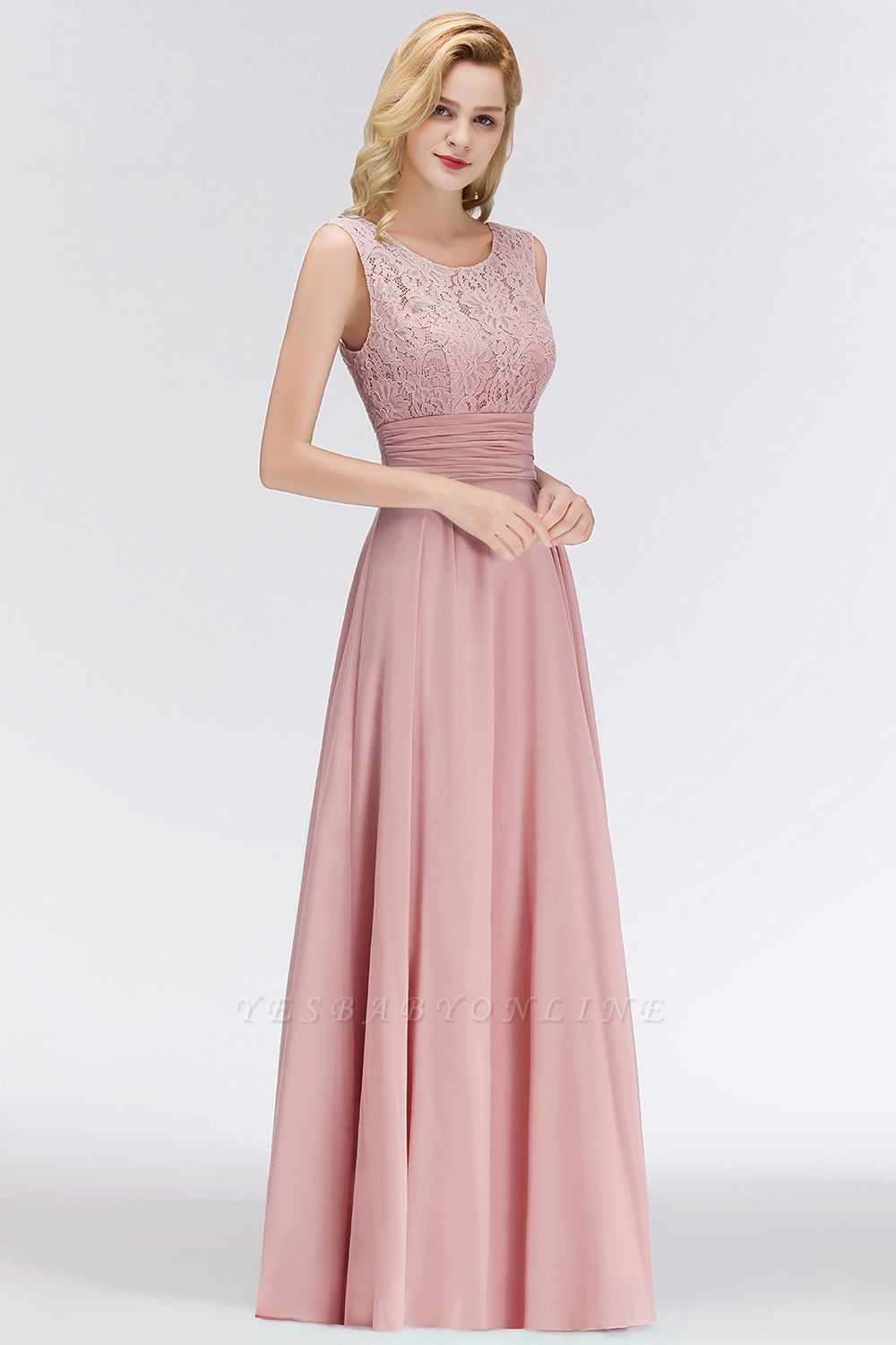 Long Lace Floor-Length Sleeveless Scoop Gorgeous Chiffon Bridesmaid Dress