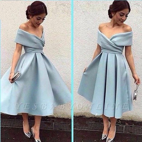 New Off-the-shoulder Party Dresses Baby Blue Satin Tea-Length Elegant Prom Dresses