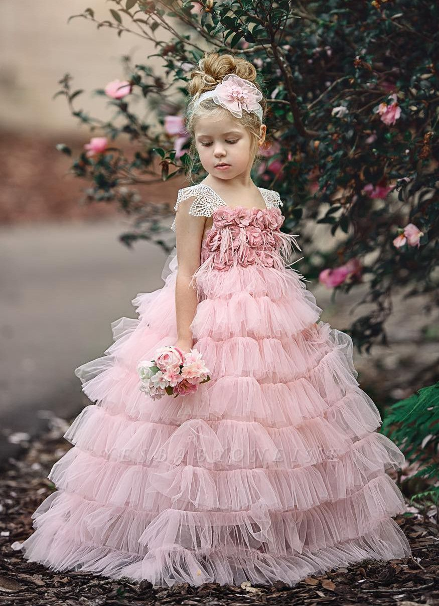 Pink Layers Tulle Flower Girl Dress |  Lace Princess Girls Pageant Dress BA9852