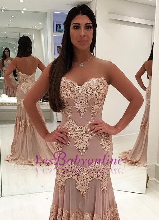 Sleeveless Sweep-train Sweetheart Lace Sheath Elegant Evening Dress