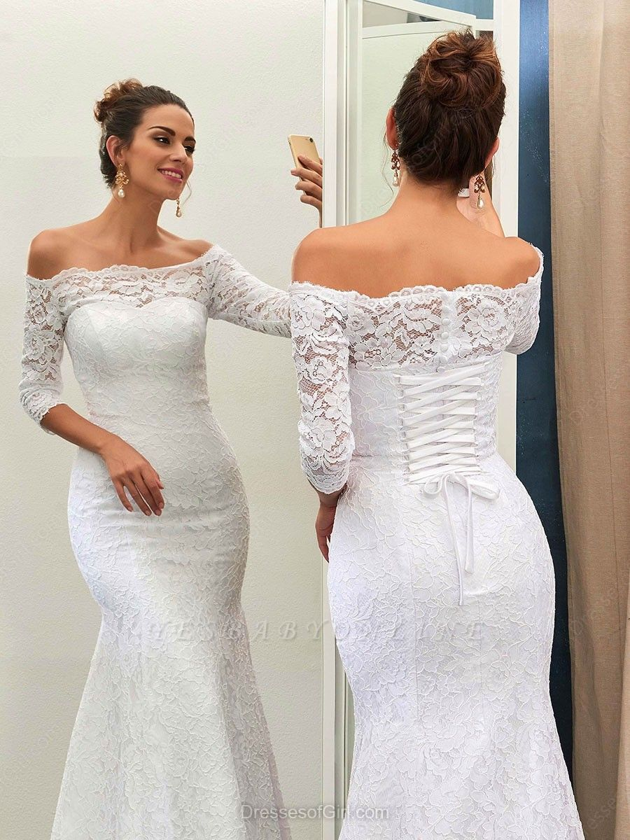 Column Half-sleeves Sweep-train Simple Off-the-shoulder Lace-up Wedding Dress