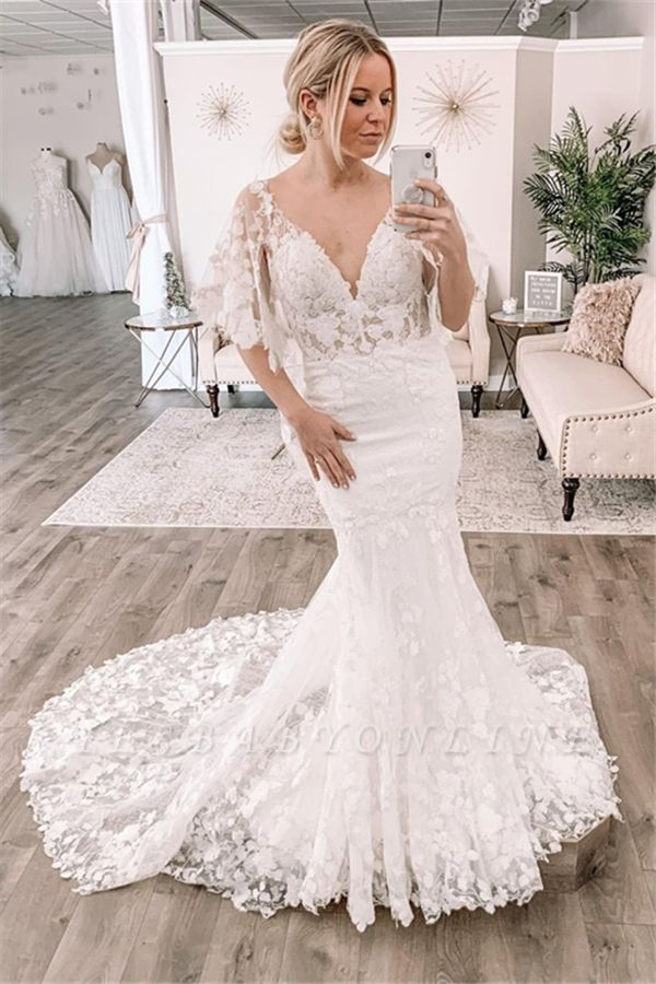 Sexy Short Sleeve Deep V Neck Lace Fitted Mermaid Wedding Dress