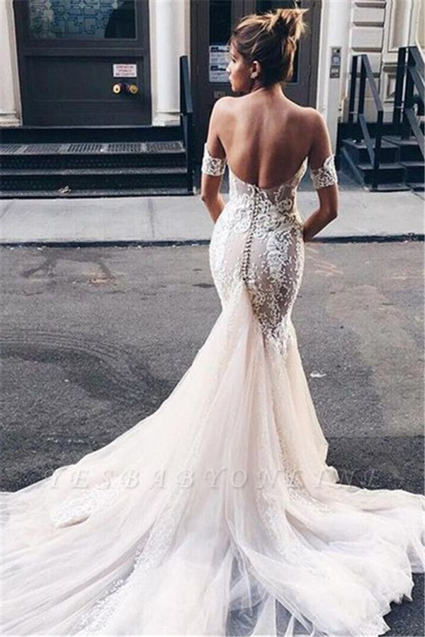 Strapless Sexy Mermaid Wedding Dress | Open Back Sweetheart Bridal Dress with Long Tulle Train