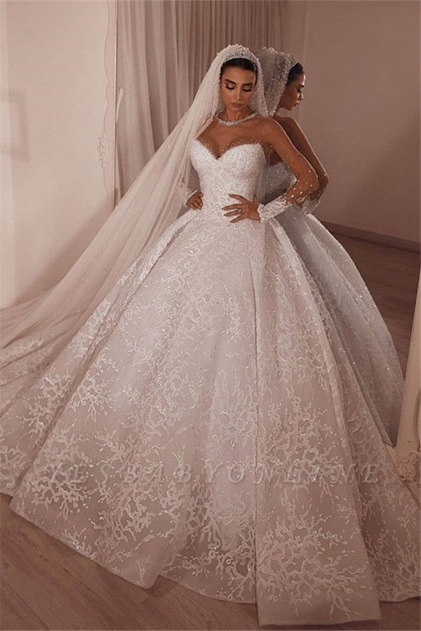 Strapless Sweetheart Princess Wedding Dresses | Ball Gown Lace Bridal Gowns
