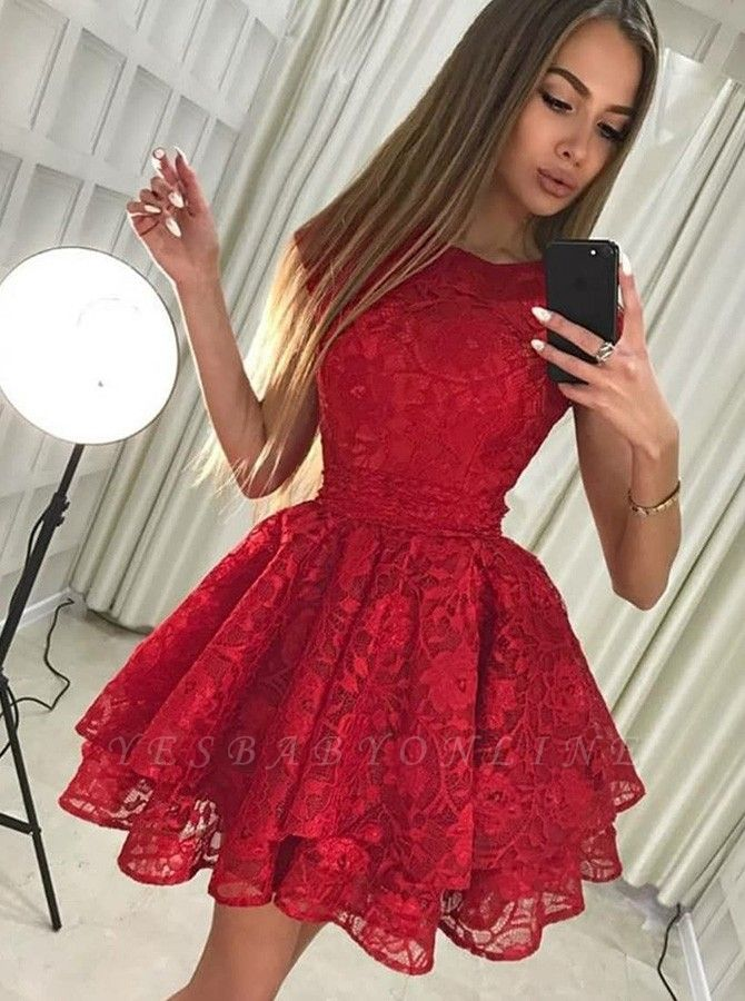 Chic A-Line Scoop Homecoming Dresses | Sleeveless Red Short Cocktail Dresses