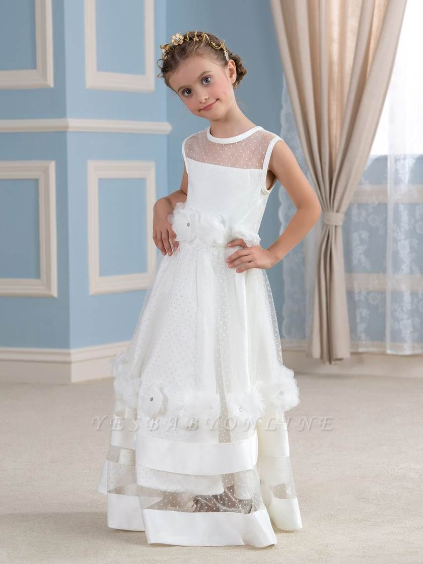 Cute A-Line Tulle Sheer Tulle Scoop Sleeveless Flower Girl Dress