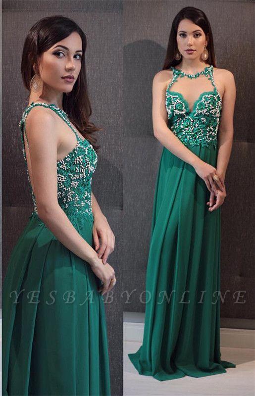 Sleeveless Crystal Green Open-Back Scoop Floor-Length Evening Dress