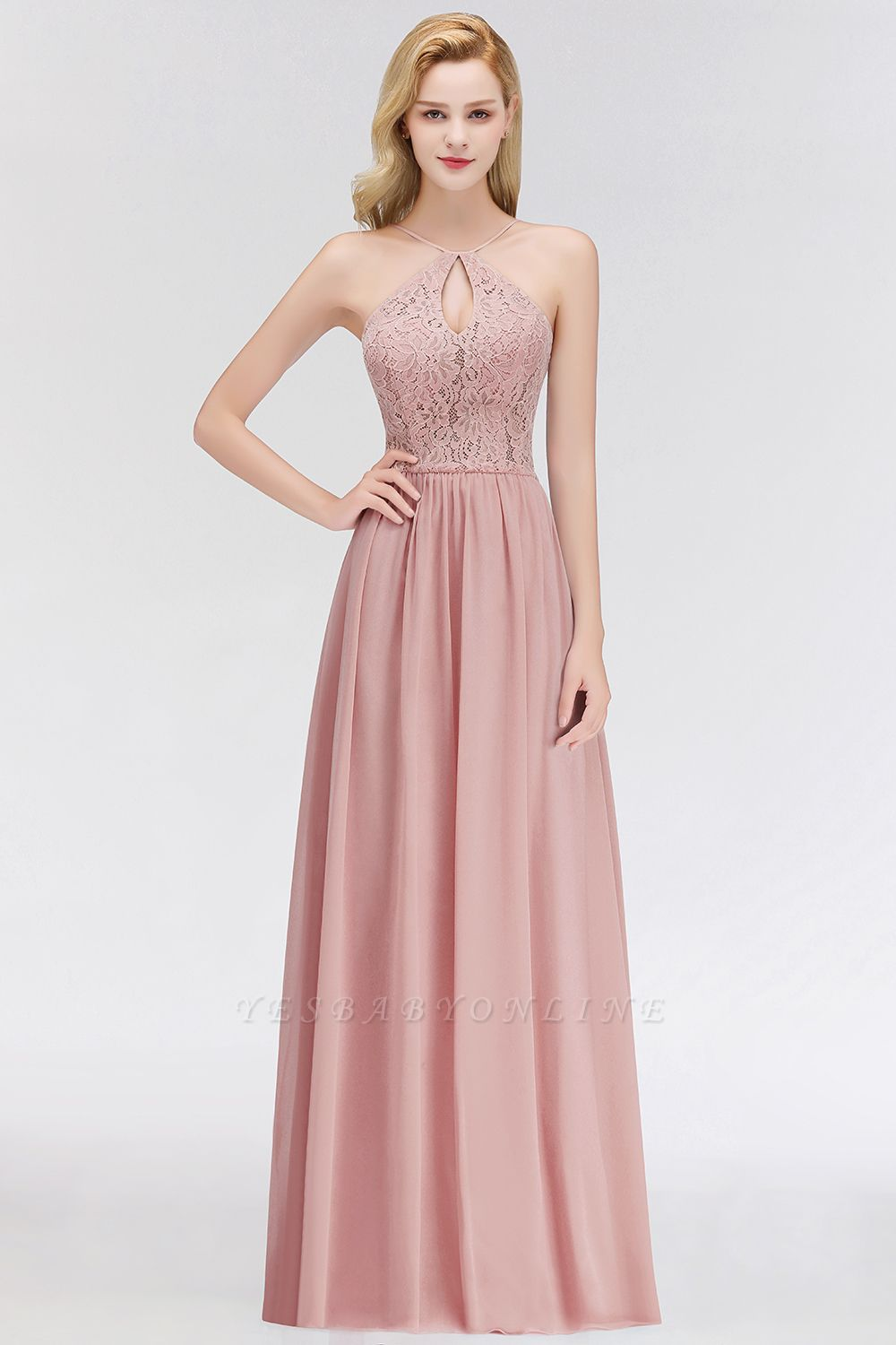 Halter Floor-Length Keyhole Lace Chiffon Long Bridesmaid Dress