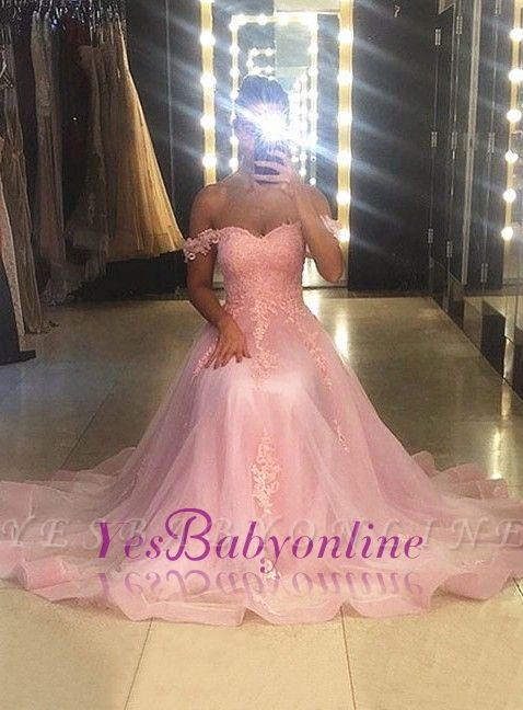 Lace Pink Sweetheart-neck A-line Sweep-trian Sleeveless Evening Dress