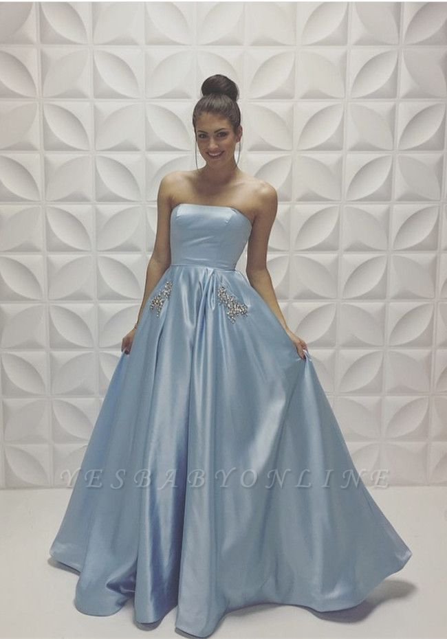 Baby Blue Strapless Prom Dresses Sleeveless Beadings A-line Formal Dresses