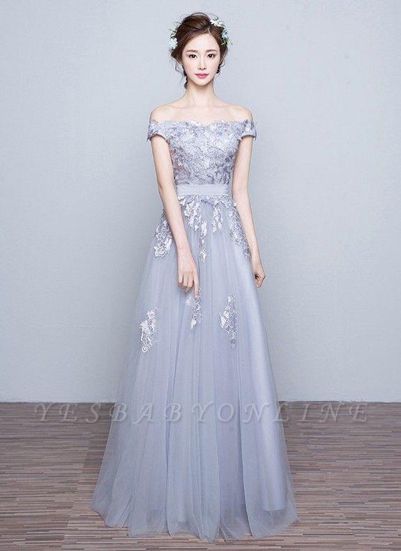 Off-the-Shoulder Floor-Length Lace-Appliques Lace-Up-Back A-line Prom Dresses